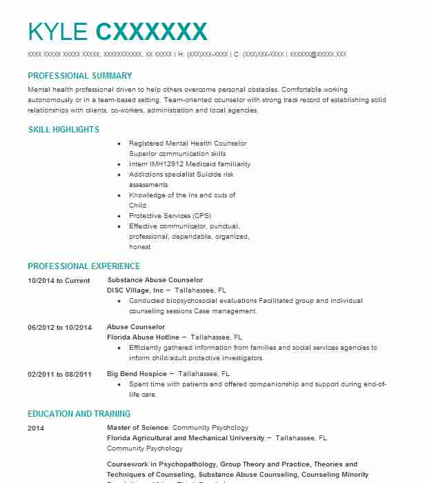 Substance Abuse Counselor Resume Sample LiveCareer