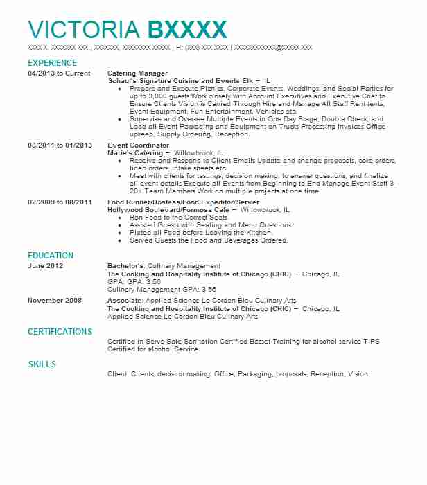 Catering Manager Resume Sample Manager Resumes LiveCareer