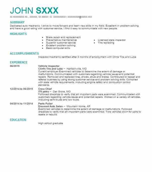 Vehicle Inspector Resume Sample Inspector Resumes LiveCareer