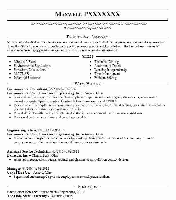 Environmental Consultant Resume Sample LiveCareer