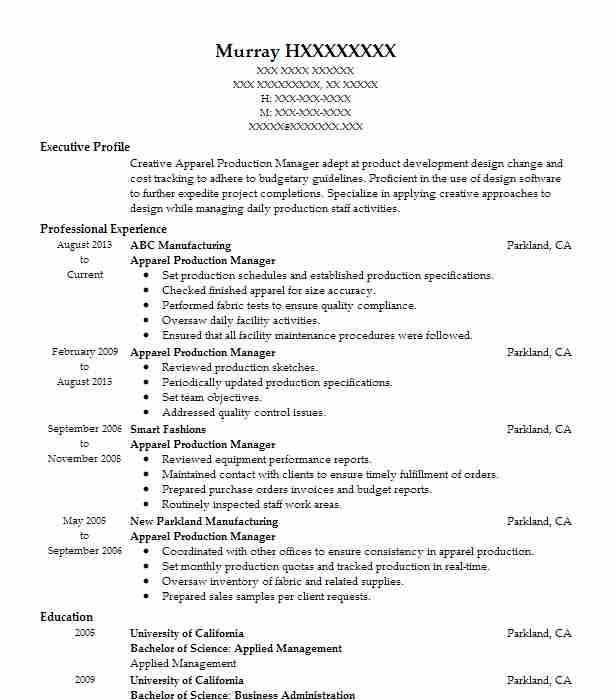 Apparel Production Manager Resume Sample LiveCareer - fashion production manager sample resume