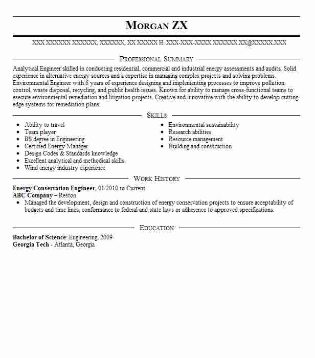 Energy Conservation Engineer Resume Sample LiveCareer - energy conservation engineer sample resume