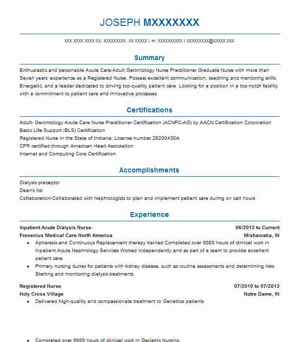 449 Nurse Practitioners Resume Examples in Indiana LiveCareer - geriatric nurse sample resume