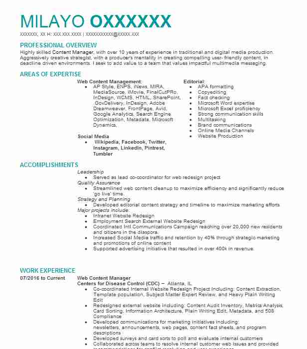 Web Content Manager Resume Sample Resumes Misc LiveCareer - Digital Content Producer Sample Resume
