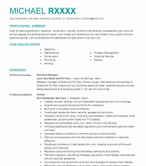 31 Maintenance Managers Resume Examples in Idaho LiveCareer - maintenance manager resume sample