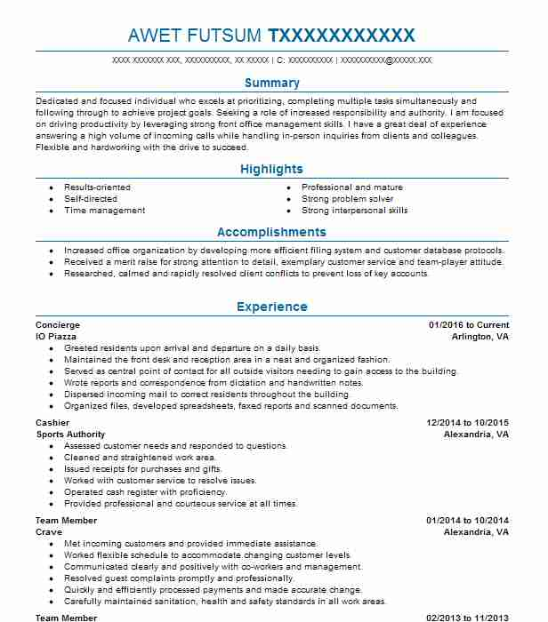 Concierge Resume Objectives Resume Sample LiveCareer