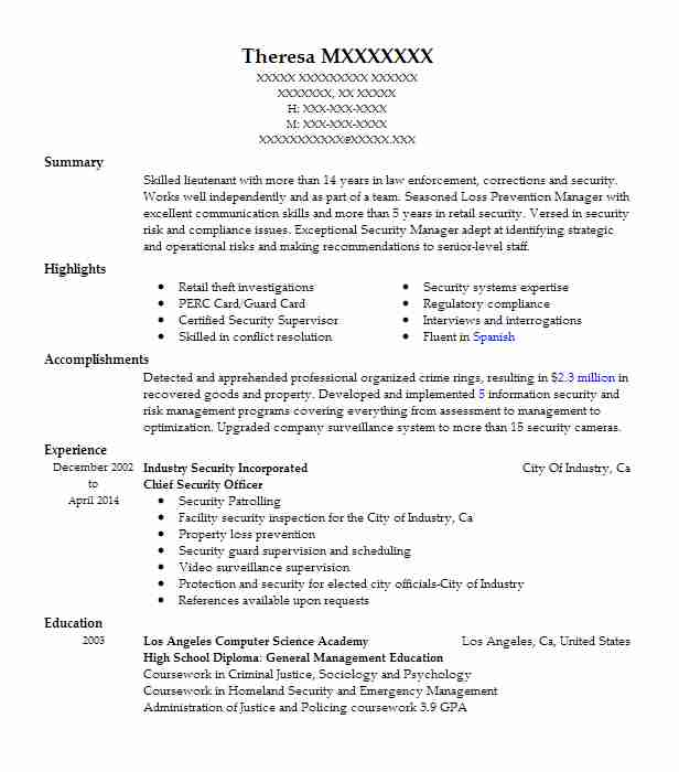 Chief Security Officer Resume Sample Officer Resumes LiveCareer