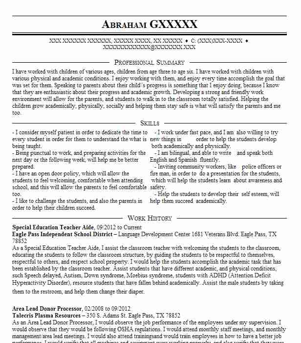 Special Education Teacher Aide Resume Sample LiveCareer