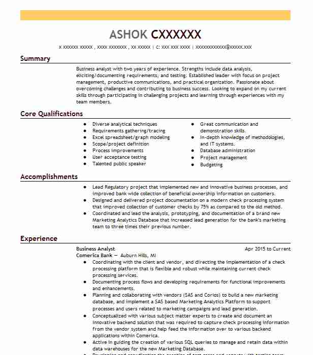 Business Analysis Manager Resume Example (Fannie Mae) - Chantilly