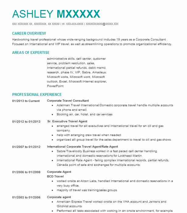 sample resume for corporate travel consultant