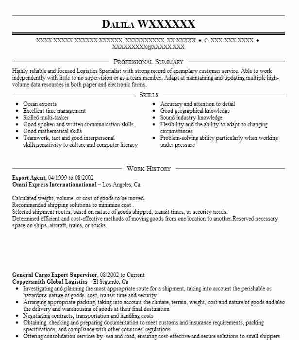 Export Agent Resume Sample Agent Resumes LiveCareer