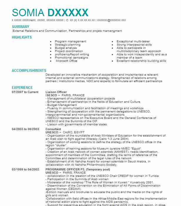 Liaison Officer Samples Resumes LiveCareer - air liaison officer sample resume