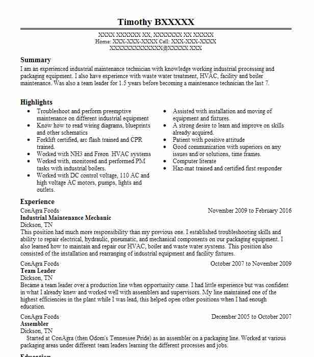 Industrial Maintenance Mechanic Resume Sample LiveCareer