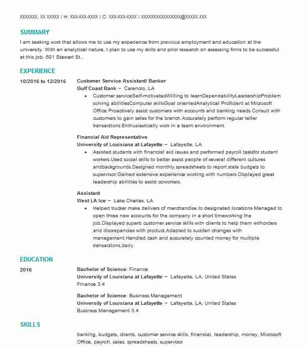 261 Financial Analysts Resume Examples in Louisiana LiveCareer - financial aid assistant sample resume