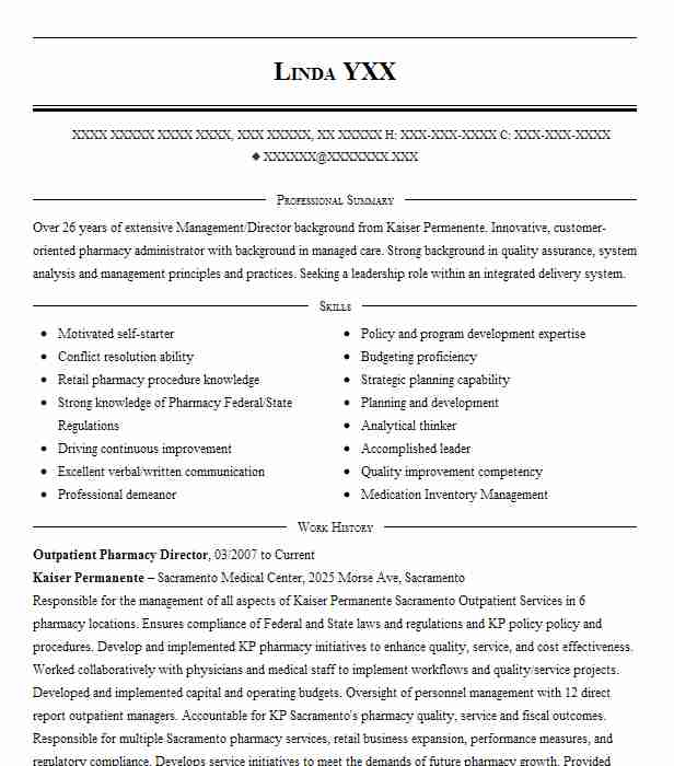 Outpatient Pharmacy Director Resume Example (Kaiser Permanente