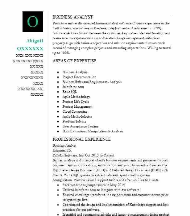 Business Analyst Resume Objectives Resume Sample LiveCareer
