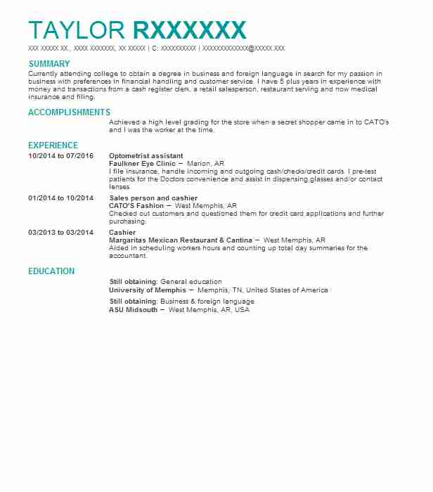 Optometrist Assistant Resume Sample Assistant Resumes LiveCareer
