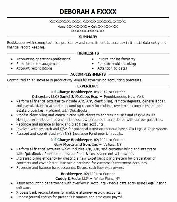 Full Charge Bookkeeper Resume Sample Bookkeeper Resumes LiveCareer