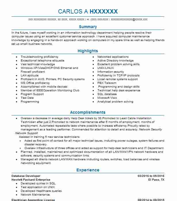 Database Developer Resume Sample Technical Resumes LiveCareer