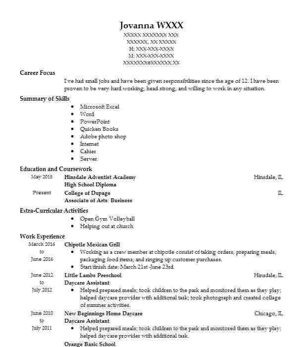 sample daycare resumes