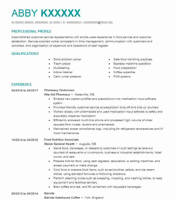 141 Baristas And Cafe Workers Resume Examples in Maine LiveCareer - rite aid pharmacist sample resume