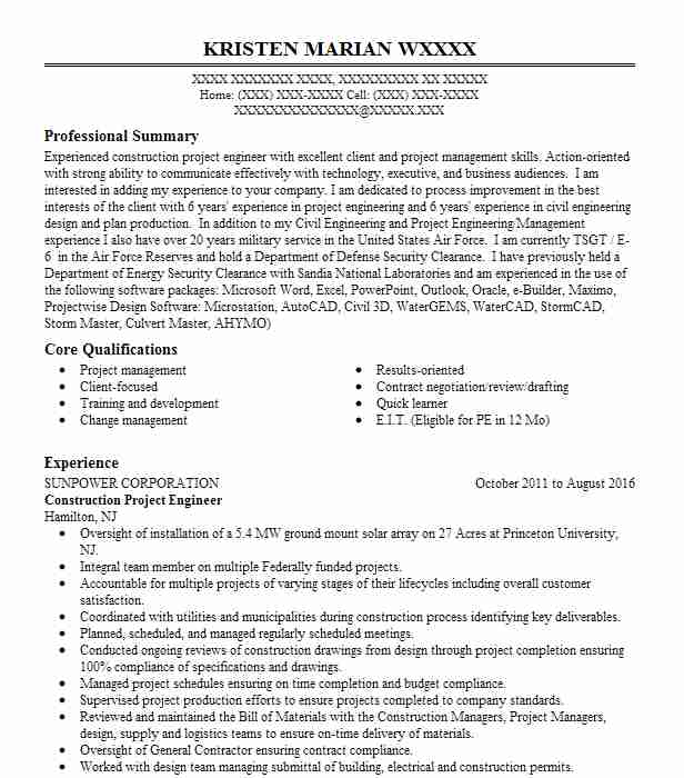 construction project engineer resumes