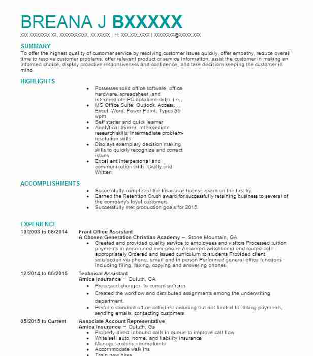 Front Office Assistant Resume Sample Assistant Resumes LiveCareer