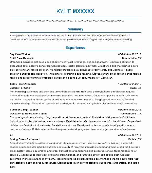 Day Care Worker Resume Sample Caregiver Resumes LiveCareer