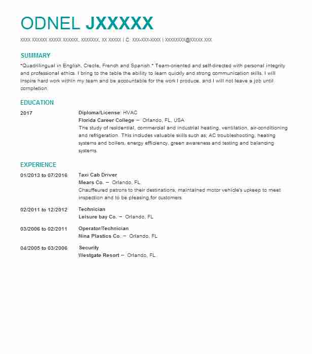 Taxi Cab Driver Resume Sample Driver Resumes LiveCareer
