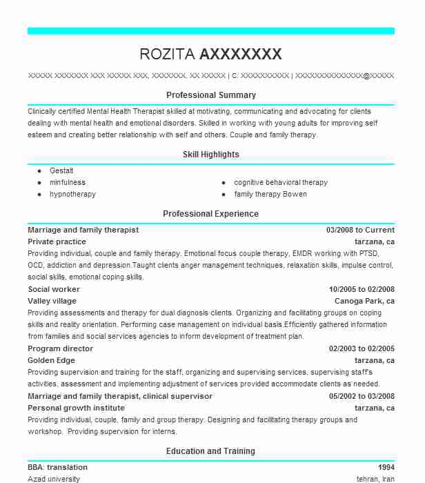 Marriage And Family Therapist Resume Sample LiveCareer