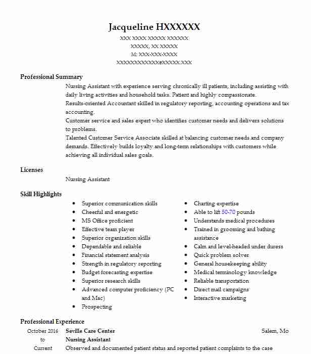Nursing Aide And Assistant Objectives Resume Objective LiveCareer - medical marketing resume