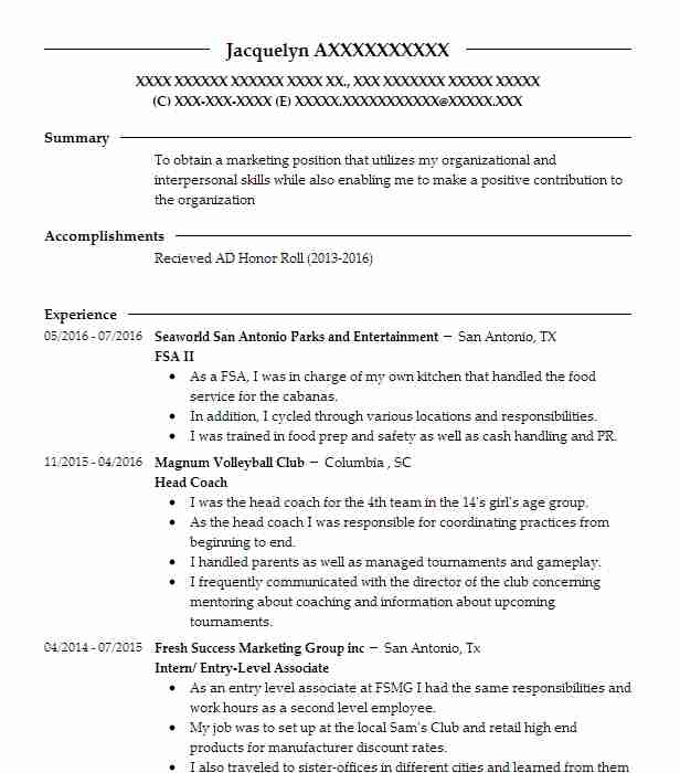 FSA II Resume Example (Seaworld San Antonio Parks And Entertainment
