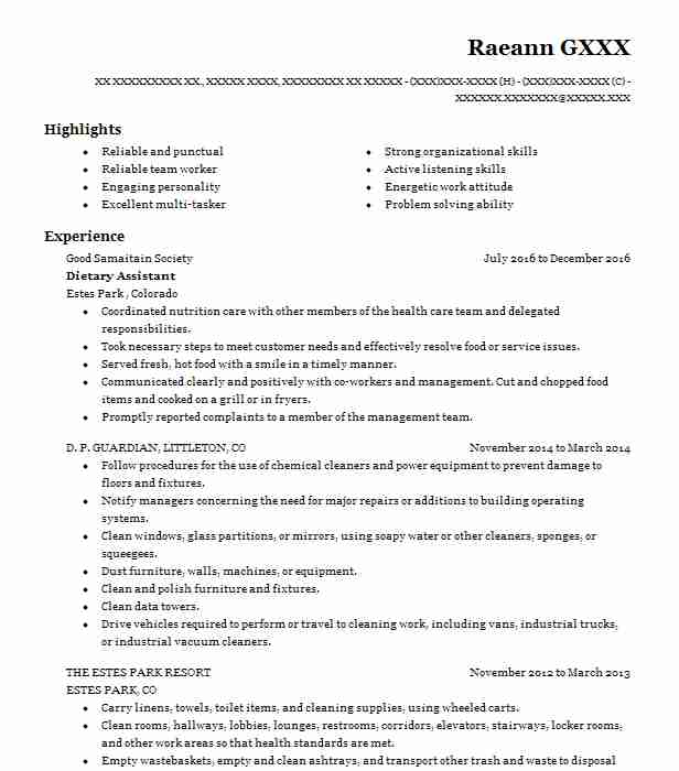 Dietary Assistant Resume Sample Assistant Resumes LiveCareer