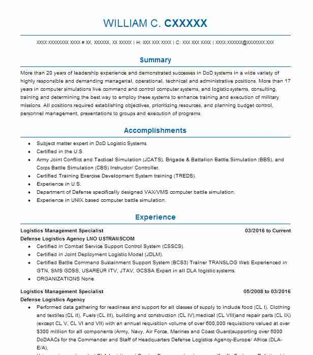 Logistics Management Specialist Resume Sample LiveCareer