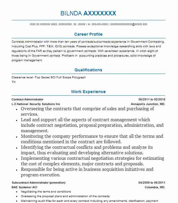 sample of resume for contract administrator