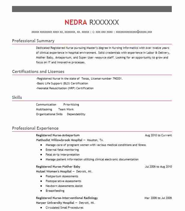 227406 Registered Nurses Resume Examples Nursing Resumes LiveCareer - Nurses Resume Samples