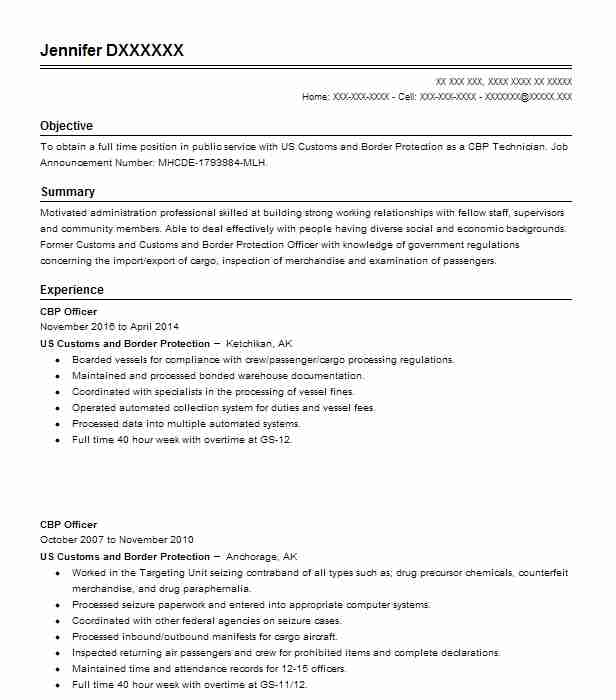 Cbp Officer Resume Sample Officer Resumes LiveCareer