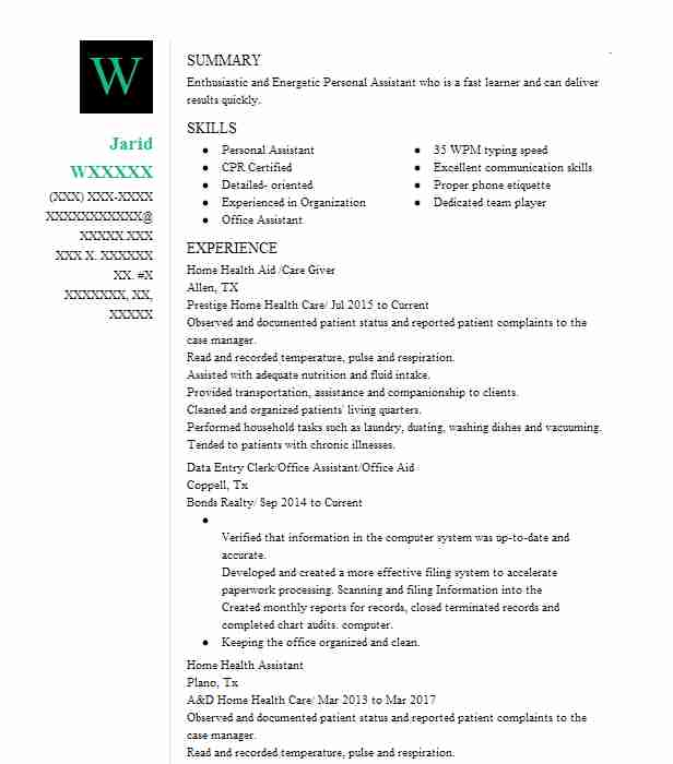 12431 Personal Assistants Resume Examples Personal Services