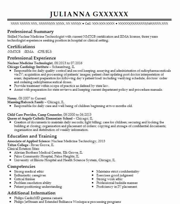 Nuclear Medicine Technologist Resume Example (Chicago Cardiology
