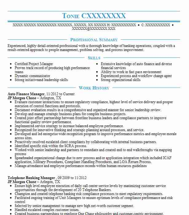 Auto Finance Manager Resume Sample Manager Resumes LiveCareer