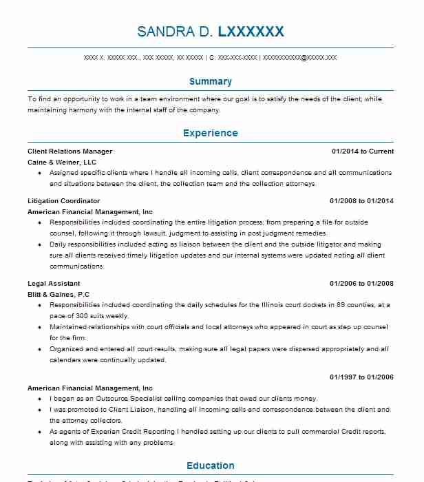 Client Relations Manager Resume Sample Manager Resumes LiveCareer