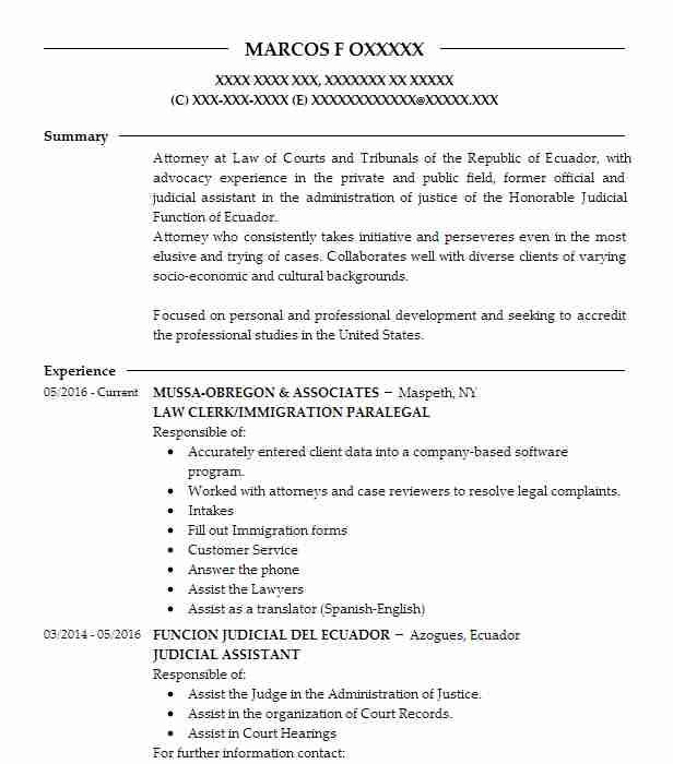 LAW CLERK/IMMIGRATION PARALEGAL Resume Example (MUSSA OBREGON