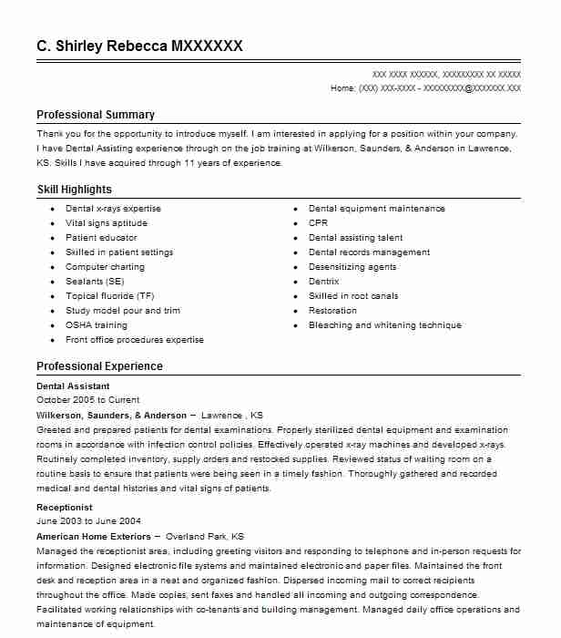 81034 Dental Resume Examples  Samples LiveCareer