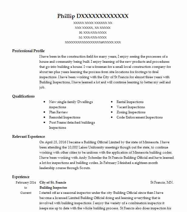 Building Inspector Resume Sample Resumes Misc LiveCareer