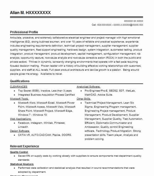 Technical Project Manager Resume Example (Boeing) - Seattle, Washington - Electronic Resume Builder