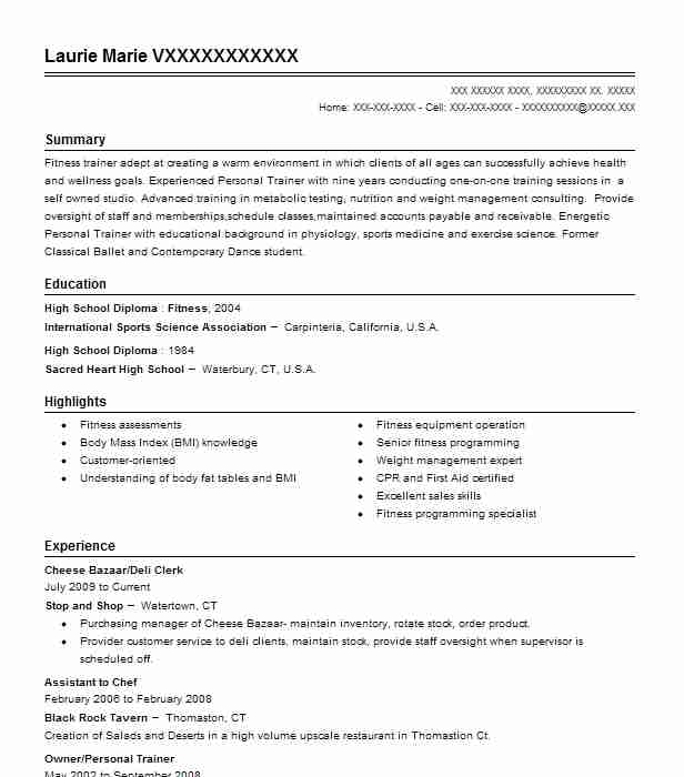 43 Diet And Nutrition (Fitness And Recreation) Resume Examples in - recreation clerk sample resume