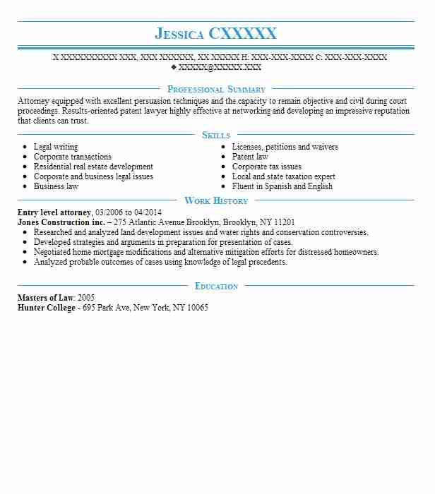 Entry Level Attorney Resume Sample Entry Level Resumes LiveCareer