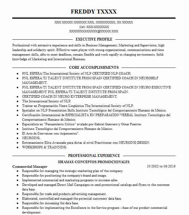 Commercial Manager Resume Sample Manager Resumes LiveCareer