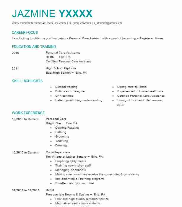 Best Personal Care Resume Example LiveCareer