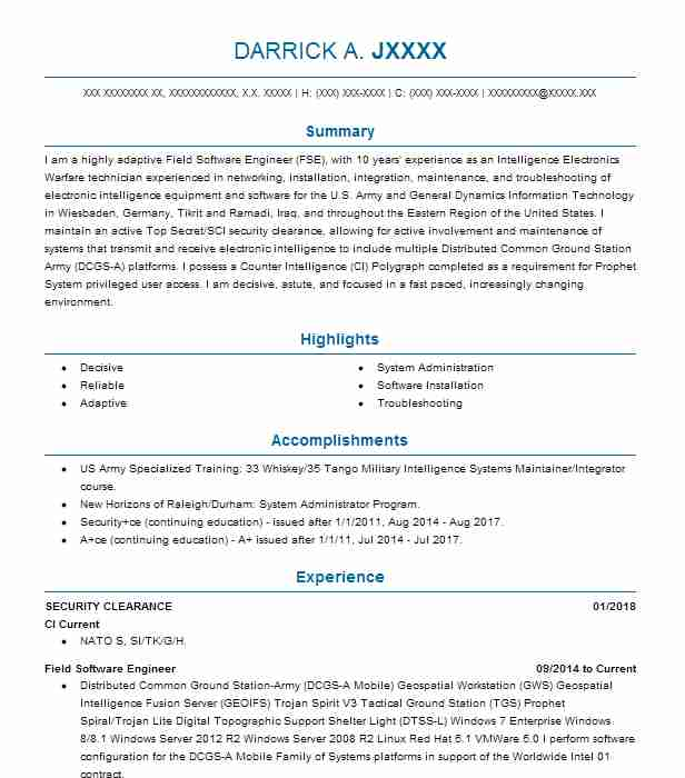 example security clearance resume